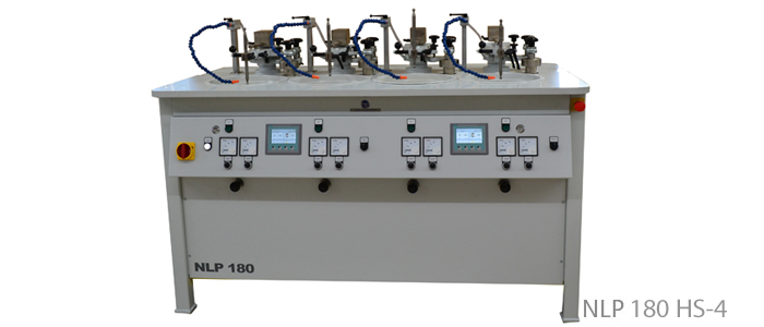 Lapping and polishing machines with horizontal overarm